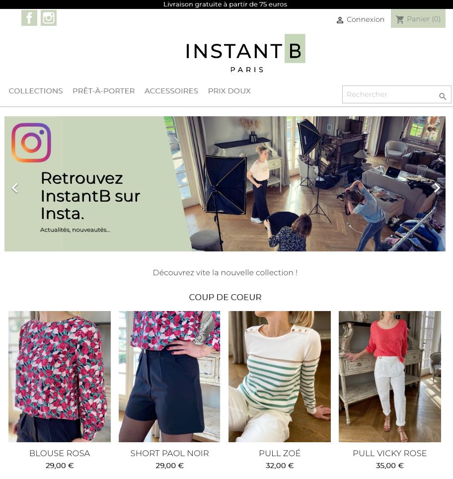 HomePage eshop InstantB-Paris